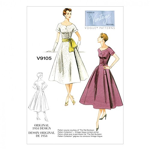 1950s Fabrics & Colors in Fashion 1954 Vogue Ladies Sewing Pattern 9105 Original 1954 Vintage Dress Design $21.25 AT vintagedancer.com