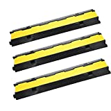 Mophorn Cable Protector Car Dual Channel Rubber Channel Cable Protector Capacity 11000lbs Cable Hose Protector 3 Pack (3 Pack)