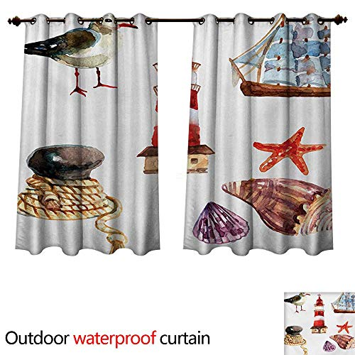 WilliamsDecor Nautical Home Patio Outdoor Curtain Nautical Theme Elements Seagull Boat Lighthouse Shell Starfish Island Watercolor Style W96 x L72(245cm x 183cm)