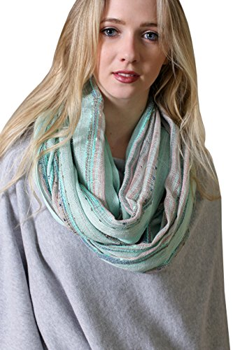 Anika Dali Festival Bliss Shimmer Infinity Scarf, Boho Sparkle Versatile Loop Shawl (Mint (Blue Green Sparkle)