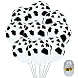Elcoho 120 Pieces Cow Balloons 12 Inches Farm Animal Print Balloons for Farm Party Decoration Home Craft Backdrop (Cow Balloon 120 Pieces)