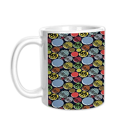 - Geometric Stylish White Printed Mug,Abstract Artistic Funky Shapes Spirals Circles Stripes Colorful Retro Fun Pattern Decorative for Living Room Bedroom,3.1