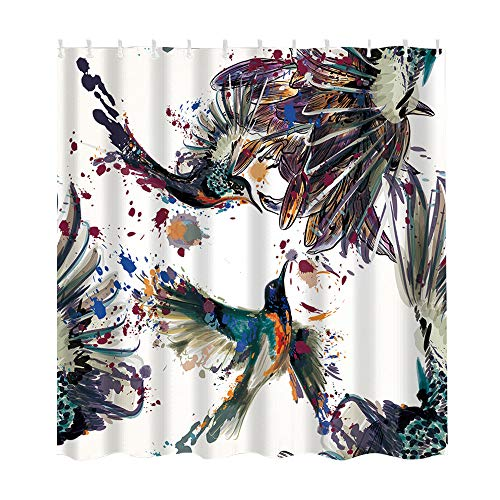 (certainPL Birds Oil Painting Shower Curtain Liner, Waterproof Polyester Fabric Shower Curtains for Bathroom Decoration, 59x71 Inch)