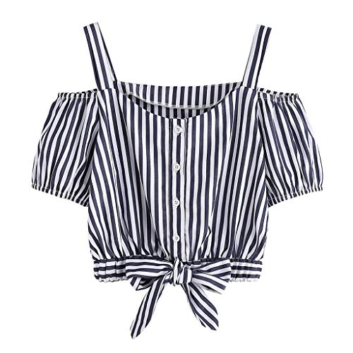 (Sunhusing Ladies Spring Summer Off Shoulder Short Sleeve Striped Buttons Buckle Bow Strappy T-Shirt Top)
