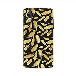 Cover It Up - Gold Feathers Black Print Nexus 5 Hard Case
