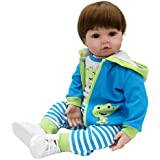 24 inches Reborn Baby Doll Real Looking Toddler Blue Jacket with Crocodile Striped Pants White Shoes