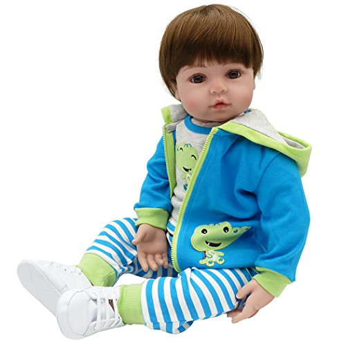 Seedollia Real Life Reborn Baby Dolls Boy Toddler Cotton Body Blue Outfit with Frog Pattern 24 Inch