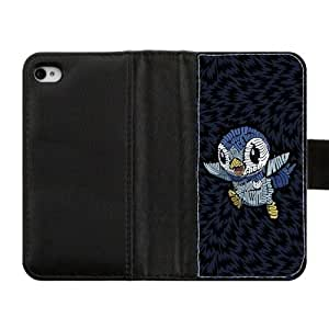 Generic DIY Penguins Otterbox--Design Colorful Cute Cartoon Penguins Custom Diary Leather Case Cover for iPhone4 iPhone4S,With Credit Cards