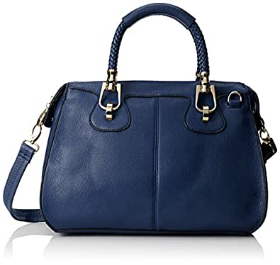 MG Collection Marissa Top Handle Doctor Shoulder Bag, Navy Blue, One Size