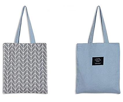 LAAT Bolsa para la compra plegable y reutilizable – Bandolera de algodón, una solución ecológica para ir al mercado – 5 colores, gris, 37x33cm