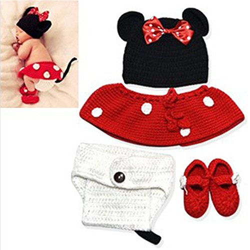 Neevas Baby Infant Newborn Mouse Knit Costume Photography Prop Crochet Beanie Hat (Newborn Mickey Mouse Costume)
