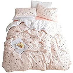 BuLuTu Black Triangle Girls Bedding Duvet Cover Set Twin Pink Cotton,Premium Soft 3 Pieces Reversible Moon Star Print Comforter Cover Zipper Closure,Hotel Quality,Lightweight,Breathable,NO Comforter