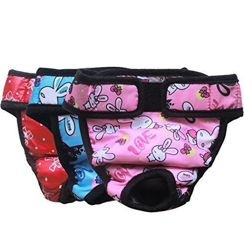 Rabbit Bowknot (Luxury Reusable Diaper for Dogs Washable Doggie Diapers for Female Dogs in Heat Nappies Puppy Cloth Training Diapers Bowknot & Rabbit Print by Pet Forest (Pack of 3) Medium)