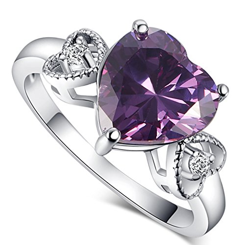 Amethyst Heart Charms (Narica Womens Brilliant Simple 8mm Heart Shaped Amethyst CZ Engagement Ring)