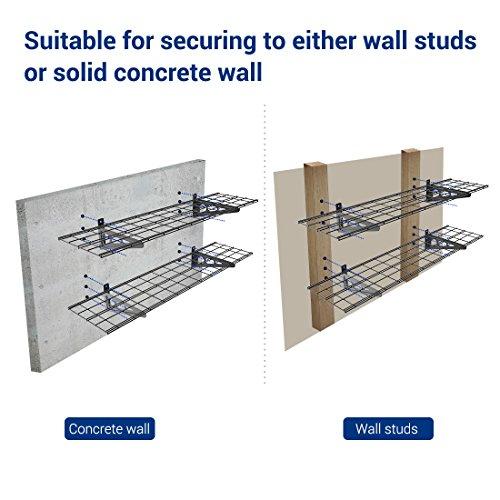 FLEXIMOUNTS 1' x 4' Black 2-Pack 1x4ft 12-inch-by-48-inch Wall Shelf Garage Storage Rack, 1x4 ft,