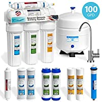 Express Water 5 Stage Home Drinking Reverse Osmosis Water Filtration System 100 GPD RO Membrane Filter Modern Chrome Faucet Ultra Safe Residential Under Sink Water Purification Extra Set of 4 Filters