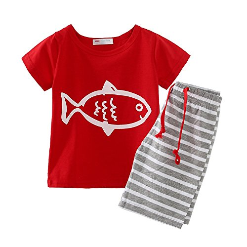 LittleSpring Little Boys' Clothing Short Sets Striped Size 2T US Red (Thanksgiving Outfit For Baby Boy)