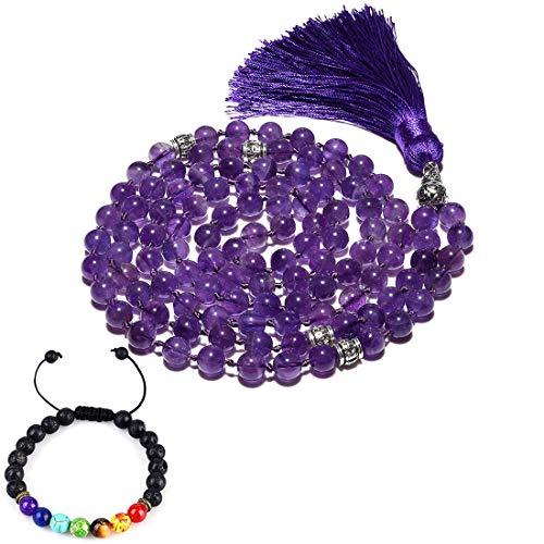 CAT EYE JEWELS 8mm Mala Beads Necklace Yoga Meditation 108 Amethyst Prayer Beads Tassel Necklace