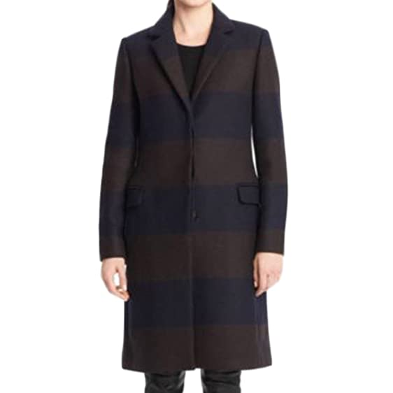 Amazon.com: Coach Women's Striped Chesterfield Trench Wool Coat ...