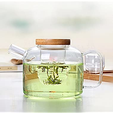 Dechunxian® Creative Life Series - Glass Tea Pot + Tea Infuser Strainer ,Lead-free Heat-resistant Borosilicate Glass, Dishwasher Microwave Refrigerator Safe (750ml+Bamboo Cap)