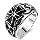 james avery ring cross - Focus Jewel Iron Flame Oxidized Stainless Steel Big Cross Ring with Flame Details Sideways Wide Cast Ring