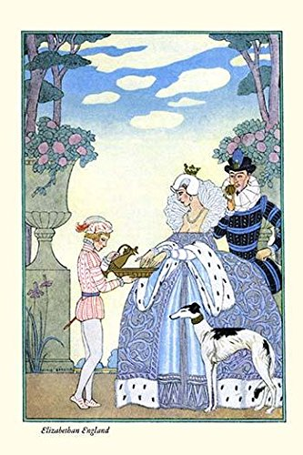 A page pours a bottle of scented water from a pitcher for a young girl and her suitor in an Elizabethan Garden Poster Print by George Barbier (24 x 36)
