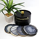 4''-5'' Extra Quality Brazilian Agate Drink Coasters Set of 4 With Deluxe Gift and Storage Box. Includes protective rubber bumpers and Certified agate information card. - Smokey Grey