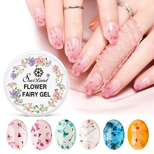 Dried Flower Gel Nail Polish, Saviland 6 Colors Soak Off UV LED Nail Varnish Decoration Manicure Nail Art Design Kit (Pink Blue Yellow)