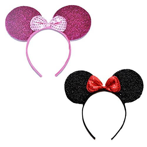 Mini Mouse Headband w/Ribbon Bow - 2 Pieces Assorted Color Set (FUp-BKp) -