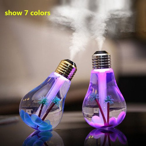 Live Direct 1 pcs USB Mini 400ml Colorful Bulb humidifier Air Purifier Atomizer with colorful Night Light for Household Office Bedroom Car (Vents Water Treatment compare prices)