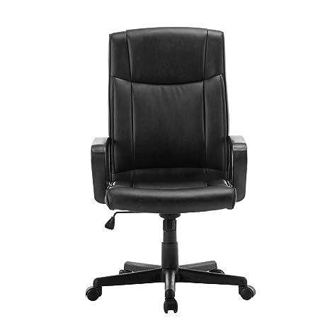 Silla de oficina giratoria ajustable de FurnitureR, respaldo elevado, piel sintética, poliuretano, silla para ordenador, color negro