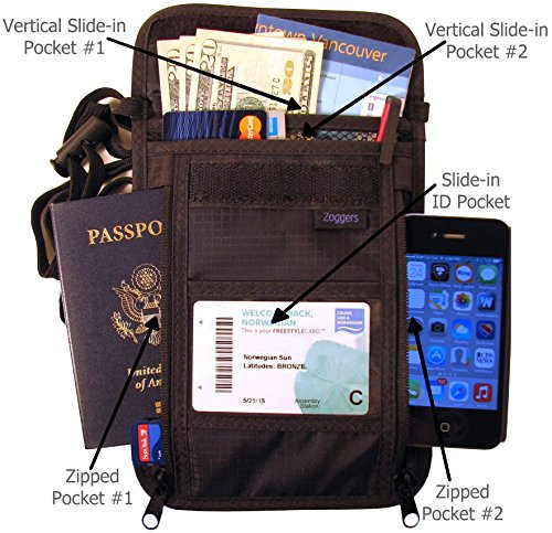RFID Travel Wallet - Largest Neck Pouch - Fits Any Size Cell Phone- Cruise - Keep Valuables Safe by Zoggers (Image #4)