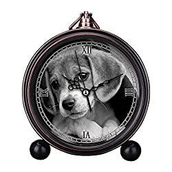 Vintage Retro Living Room Decorative Non-ticking, HD Glass Lens, Quartz, Analog Large Numerals Bedside Table Desk Alarm Clock Cute Cat Dog Series -492.Snuggle by Thomas Hawk Snuggle