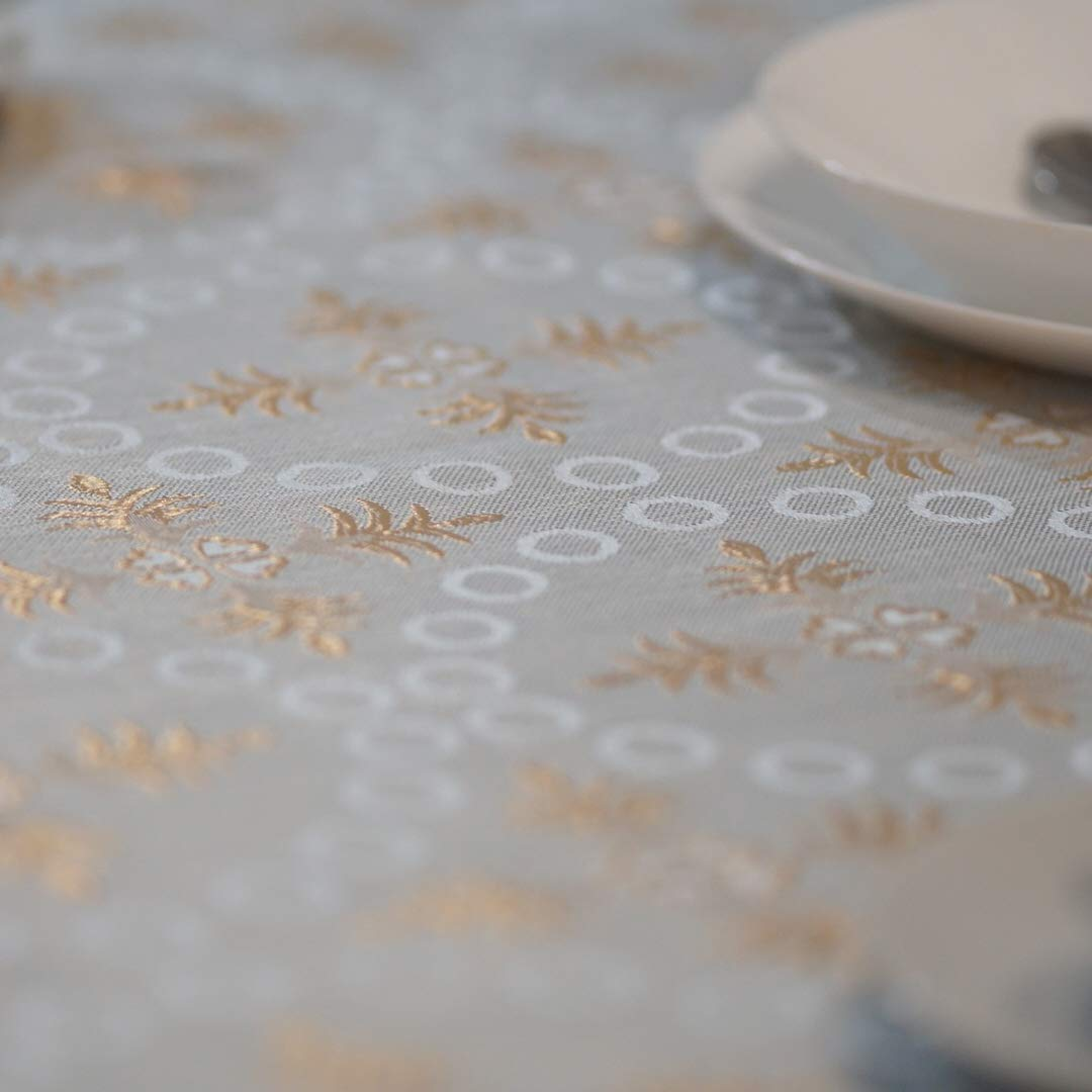 QUEENSHOW Polyester Square Tablecloth Dust-Proof Table Cover for Kitchen Dinning Tabletop CrossBeige54