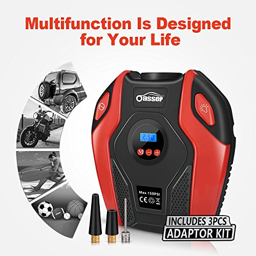 Oasser Air Compressor Tire Inflator Pump Electric Portable Air Infaltor with Digital LCD LED Light Auto Tire Pump 12V DC 150 PSI for Car Truck Bicycle RV and Other Inflatables P6 by Oasser (Image #4)
