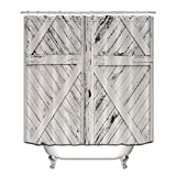 LB Rustic Barn Door Grey White Painted Barn Wood Decor Shower Curtain for Bathroom, Western Country Theme House Decor, Mildew Resistant Waterproof Fabric Decor Curtain, 70 x 70 Inch