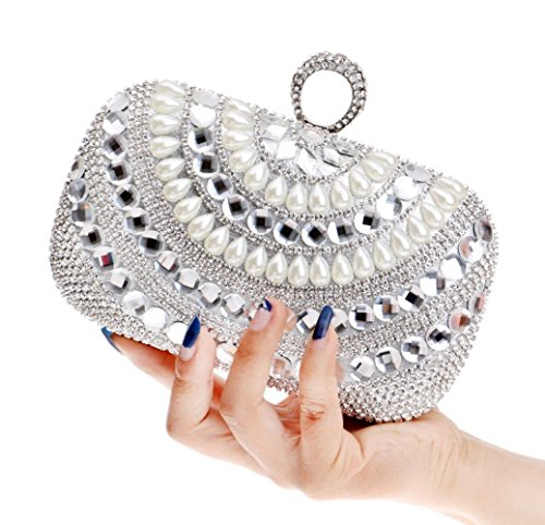 LOUHH Sac Nuptiale Femmes Mariage Cadeau Glitter Main À Prom Dames Main Silver Clubs Diamante À Épaule Sac Sequin Pour Pochette Soirée Sac YraYZ