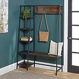 WE Furniture AZT72ASSDW 5 Shelf Entryway Bench Hall Tree Storage Coat Rack, 72 Inch, Walnut Brown