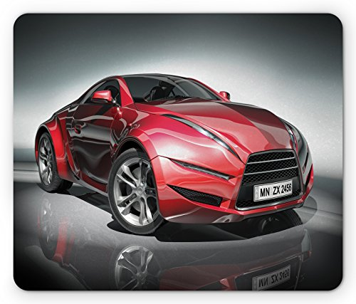 Ambesonne Cars Mouse Pad, Modern Era Sports Car Designed for Spirited Performance and Fast Speed Racing Print, Standard Size Rectangle Non-Slip Rubber Mousepad, Silver Red by Ambesonne