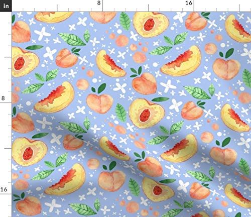 (Summer Peaches Fabric - Peach Tea Watercolor Kitchen Decor Fruit Food Novelty Print Powder Blue Print on Fabric by the Yard - Petal Signature Cotton for Sewing Quilting Apparel Crafts Decor)