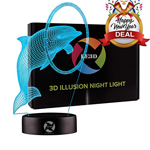 (3D Optical Illusion Night Light - 7 LED Color Changing Lamp - Cool Soft Light Safe for Kids - Solution for Nightmares - Circus Dolphin)