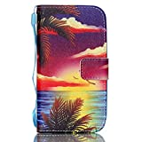 S4 MINI Case, [Kickstand] Premium PU Leather Wallet Flip Cover, Detachable Wrist Strap Phone Cover Card Holder For Samsung Galaxy S4 Mini i9190 [Sea Shore]+1 Stylus and Screen film
