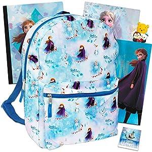 Disney Frozen Backpack Set Girls Kids – 6 Piece Disney Frozen School Backpack Bag Set with Notebook, 2 Folders, Stickers and More (Disney Frozen School Supplies)