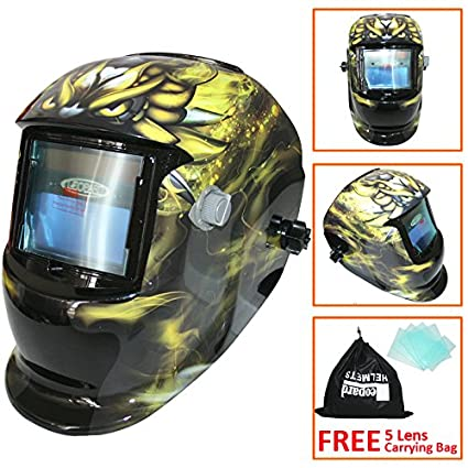 Leopard LEO-WH86 Solar Powered + Auto-Darkening + Grinding Function + 9-13 Shade Welding Helmet Mask (Black) with 5 Free Spare Lenses Touch Global Ltd