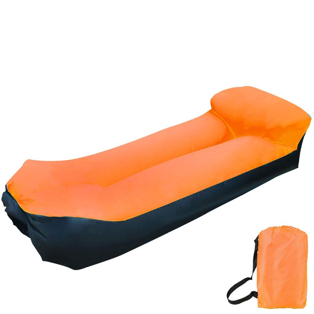 Inflatable Lounger Air Sofa Blow Up Couch Chair Outdoor Lazy Sofa Air Lounger Inflatable Lazy Bag Air Hammock Portable-Couch for Beach Traveling Camping Park Picnics & Swimming Pool (Color : Orange) by Chenguojian