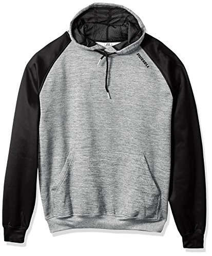 Russell Athletic Men's Big and Tall Ls Poly Rag Hd W/Russell On Shoulder, Heather Grey/Black, 2X