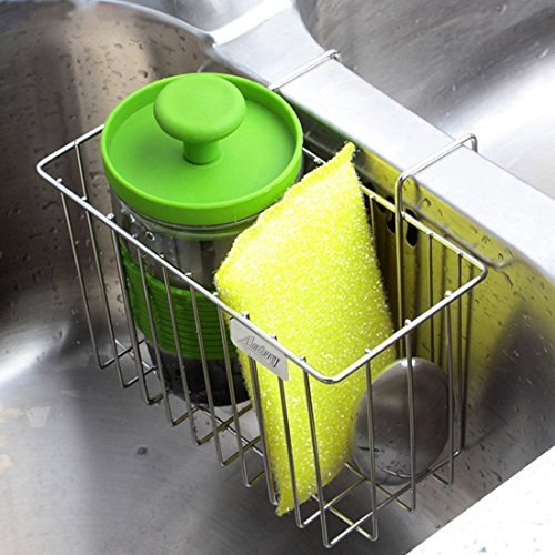 Kitchen Sponge Holder, Aiduy Sink Caddy Brush Soap Dishwashing Liquid Drainer Rack - Stainless Steel