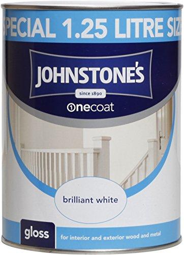 Johnstone's 303900 1.25 Litre One Coat Gloss Paint - Brilliant White