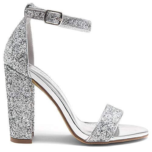(Herstyle Rosemmina Womens Open Toe Ankle Strap Chunky Block High Heel Dress Party Pump Sandals Silver Glitter 9)