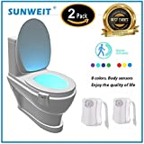 2 Pack Toilet Light -The Original Light Bowl, 8 Colors in 1 Device, Battery Operated Night Light. Great Tool for Potty Training Toddlers, Kills 99.99% Germs with UV Light - Only Activates in Darkness